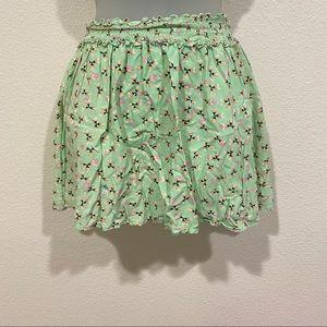 kids green floral skirt